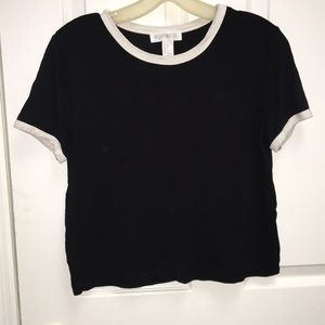Black T-shirt with white piping
